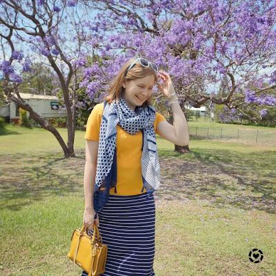 awayfromtheblue Instgagram | brisbane spring mum style mustard tee navy maxi skirt fashion scarf girl print mix