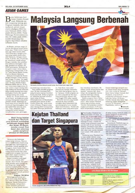 ASIAN GAMES 2001 MALAYSIA LANGSUNG BERBENAH