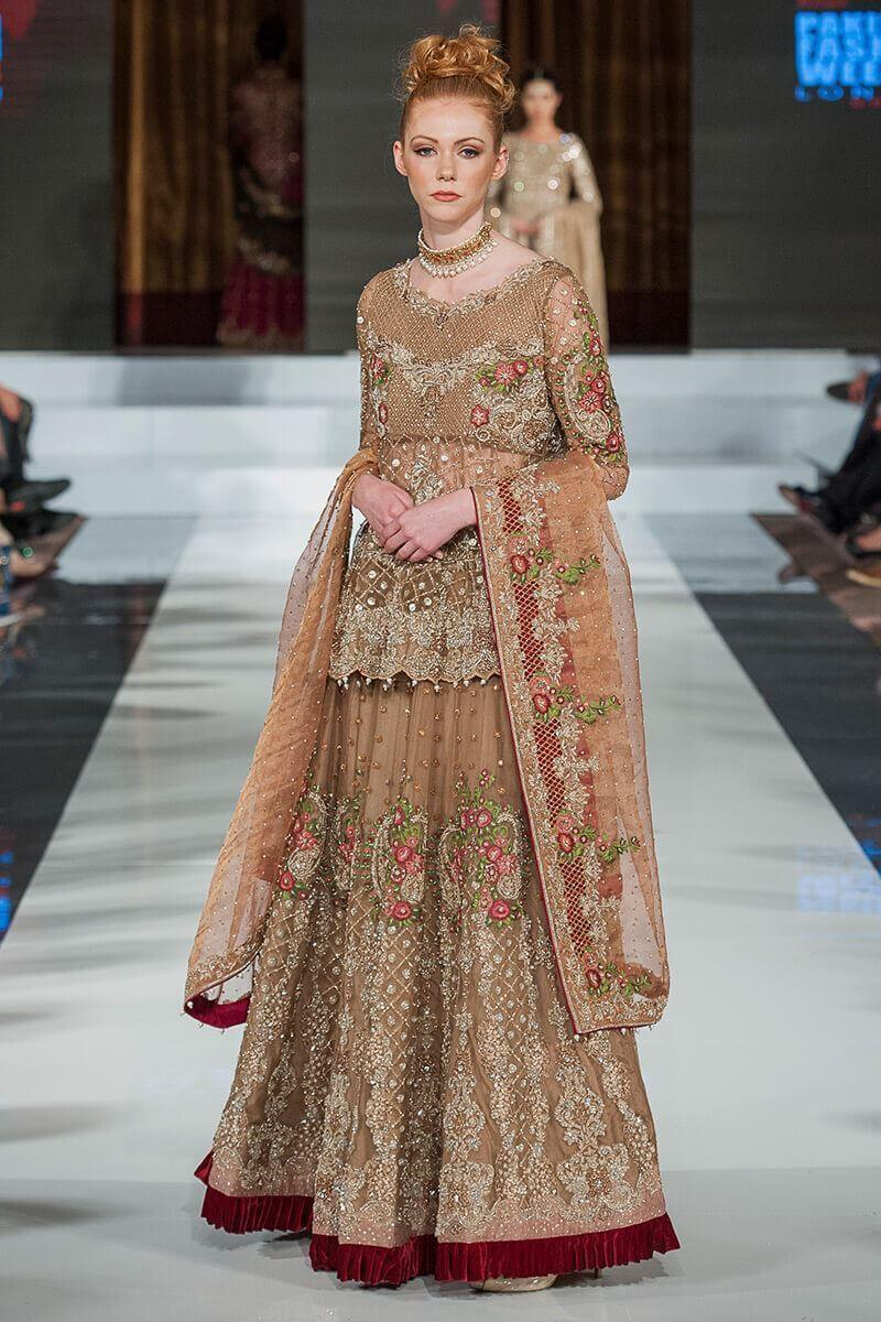 Brown Bridal Walima Dress by Aisha Imran