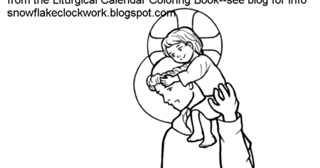 Snowflake Clockwork: St. Anthony coloring page-- June pages!