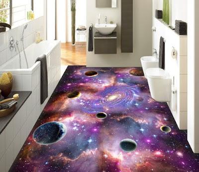 space themed 3d flooring-for modern bathroom