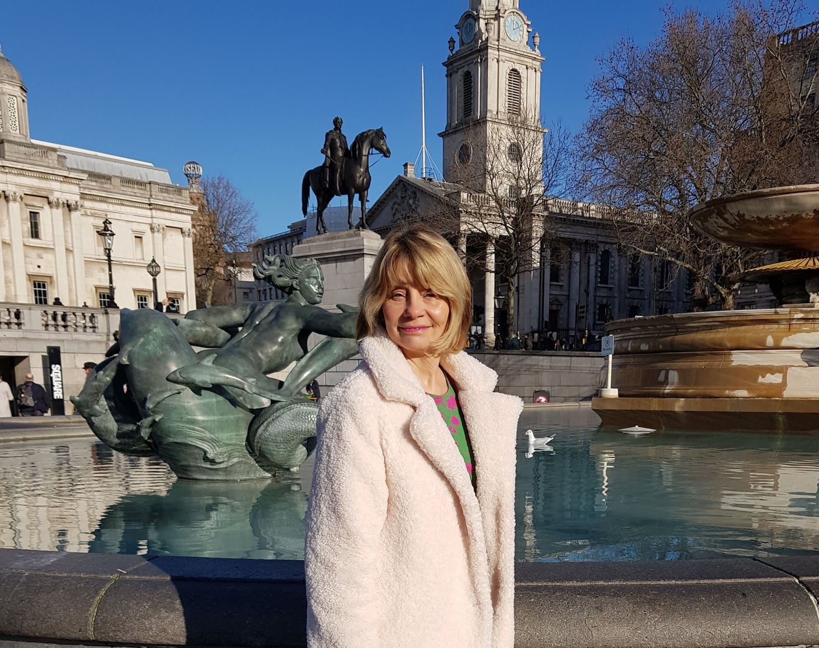 Over 50s blogger Gail Hanlon from Is This Mutton in London's Trafalgar Square