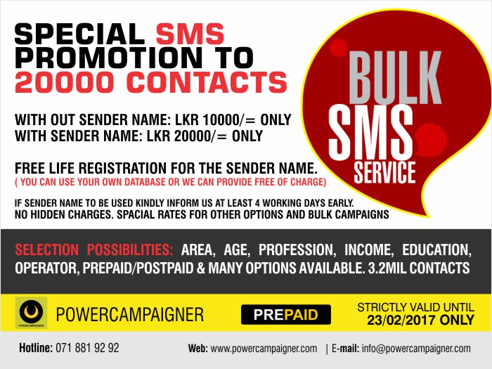 Special SMS Promotion to 20 000 Contacts.