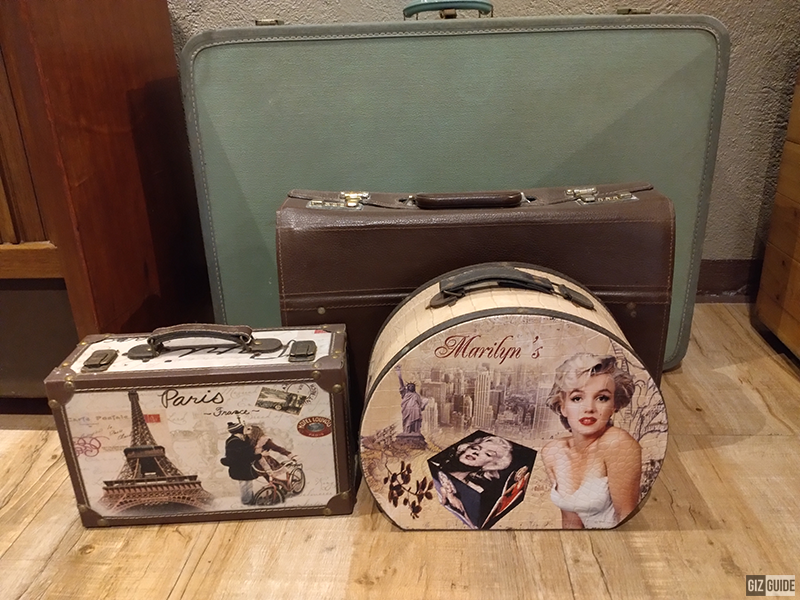A photo of vintage bags inside the coffee shop