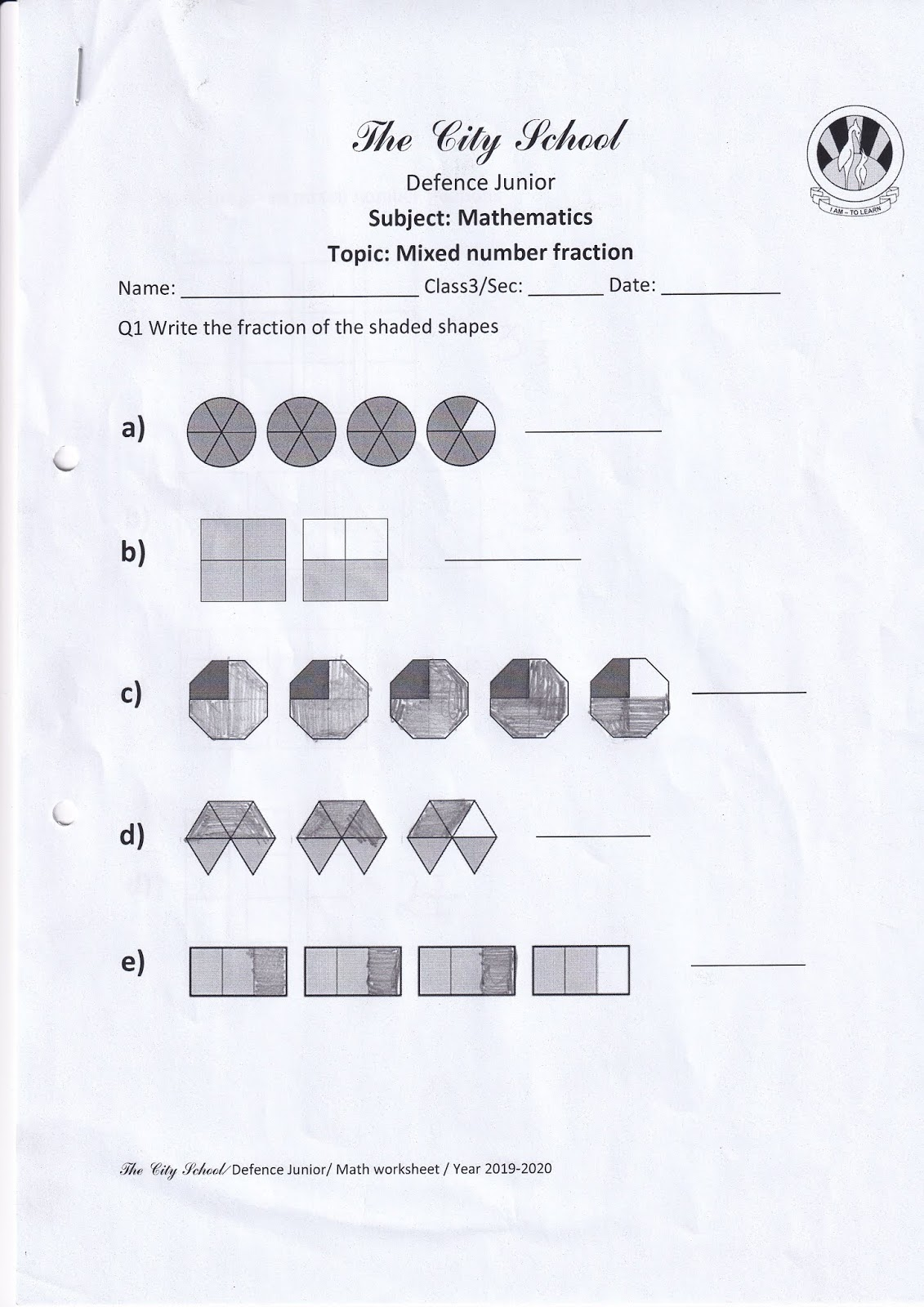 The City School Defence Junior Mathematics Worksheet