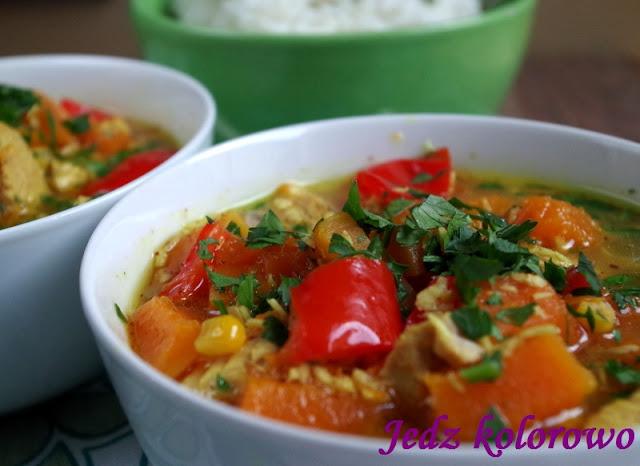 curry z dynią piżmową, wegetariańskie lub z mięsem