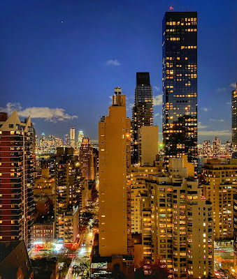 Nighttime view of Manhattan's East Side