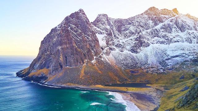Wallpaper beach, mountains, coast, sea, landscape