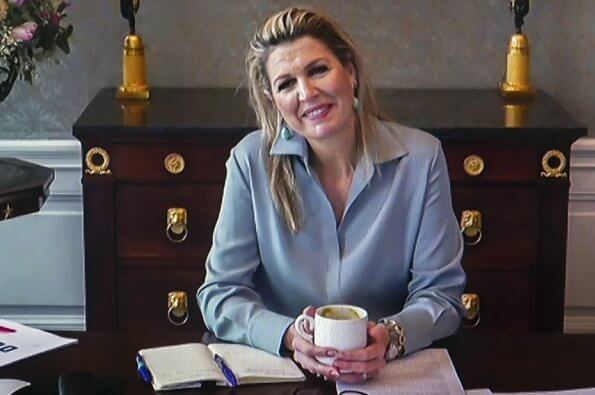 Queen Maxima wore a stretch silk crepe shirt from Natan. working visit to Breakthrough Method initiative in Tilburg