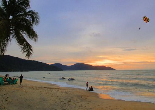 Batu Ferringhi Beach Sunset in the sand
