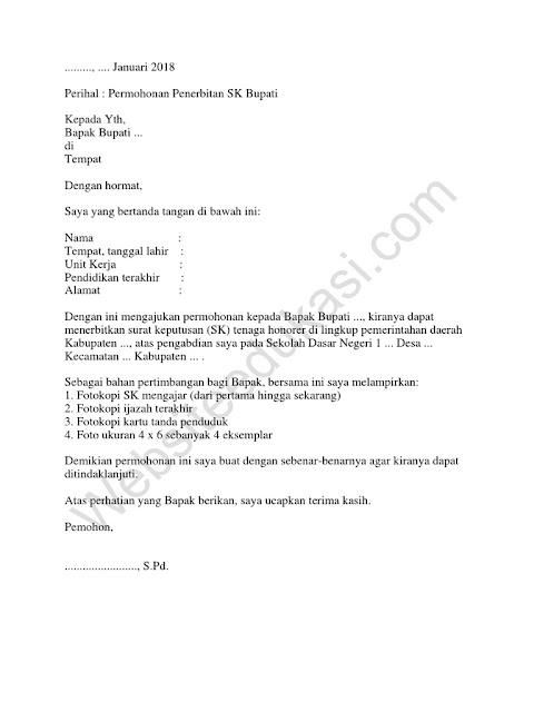 Contoh surat Permohonan ke Bupati (via: websiteedukasi.com)
