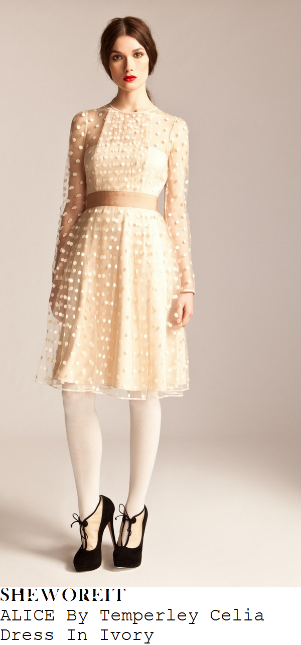 holly-willoughby-cream-white-sheer-polka-dot-tulle-long-sleeve-dress-bhs-collection-launch