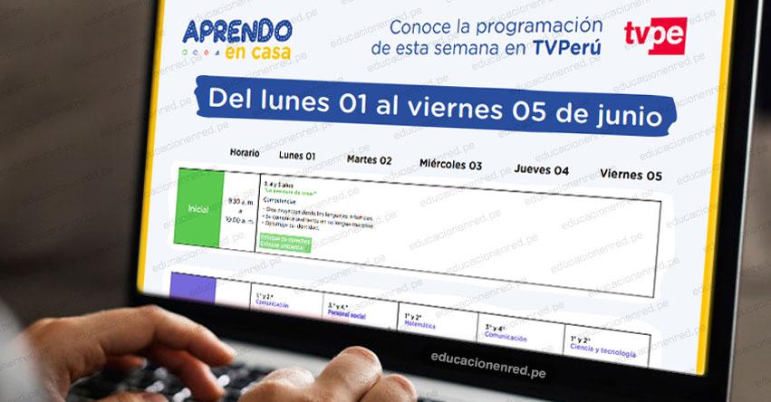APRENDO EN CASA: Programación del Lunes 1 al Viernes 5 de Junio - TV Perú y Radio - www.aprendoencasa.pe
