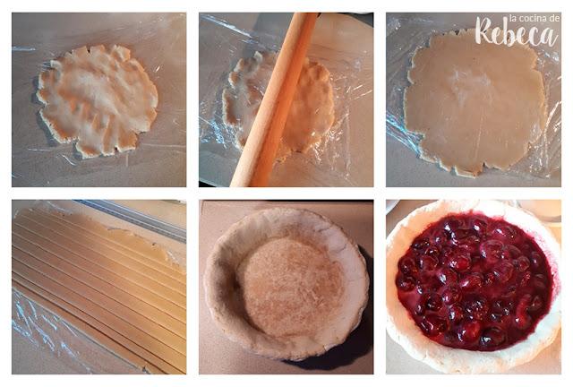 Receta de pastel tipo pie de cerezas y almendra: rellenando la masa