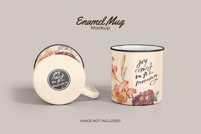 Two Classic Enamel Mug PSD Mockup