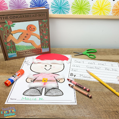 gingerbread boy book with a paper gingerbread man disguised as Santa with writing prompt