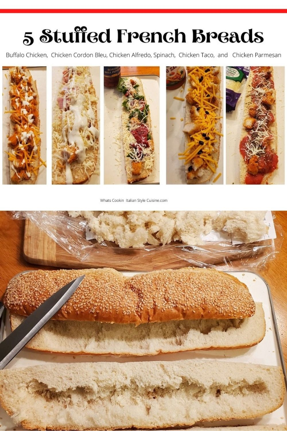 these are 5 stuffed french bread recipes and the photo is for Pin for Later