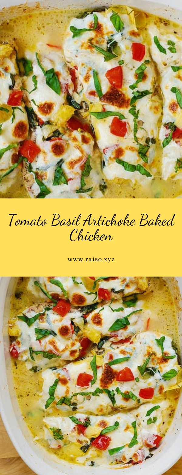 Tomato Basil Artichoke Baked Chicken #chickenbreasts #dinner #maincourse