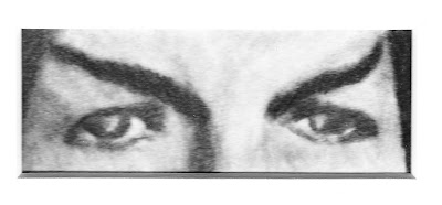 """""""Eyes of Mr. Spock"""" Charcoal and colored pencils on Paper, c. 2007 2 x 4.5 inches"""