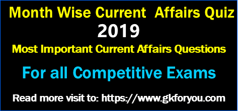 Month wise Current Affairs Online Test 2019
