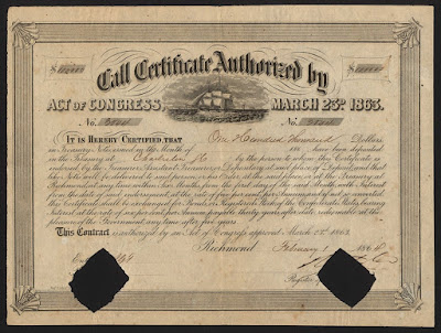 vignette of sailing ship on Confederate States of America Treasury Note