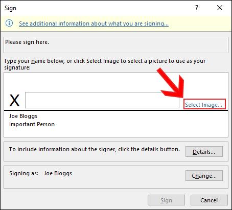 """انقر فوق """"تحديد الصور"""" في مربع الحوار """"تسجيل"""" لإدراج توقيع صورة في Microsoft Word"""