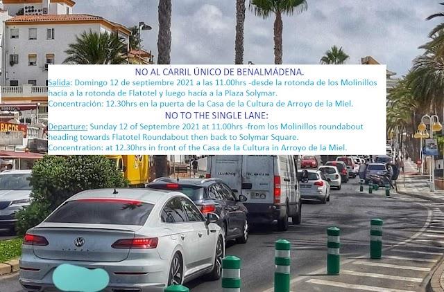 """Manifestación """"NO AL CARRIL ÚNICO"""". Convocatoria: Domingo 12 de septiembre 2021"""