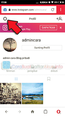 cara keluar dari instagram web