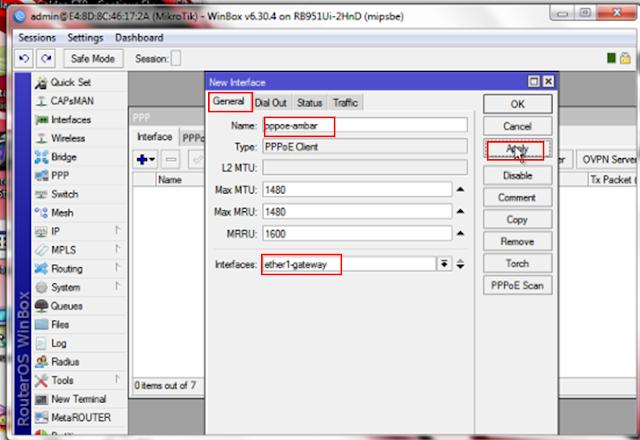 Konfigurasi PPPoE client dimikrotik