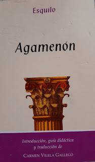 Portada de Agamenón de Esquilo que muestra una columna de templo griego.