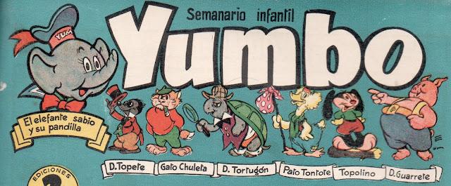 Encabezado de las primeras portadas de Yumbo, con personajes recurrentes