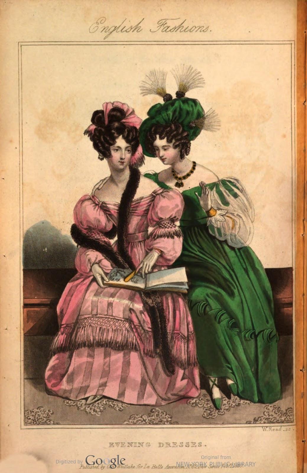 adf7fa567c Fekete bársony csuklyás kalap, fekete chantilly csipke fátyollal és szatén  szalagdísszel. Estélyi ruha rózsaszín szaténból, fehér en jabots  elrendezett ...