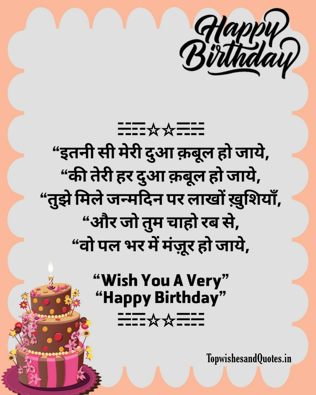 Happy Birthday Wishes In Hindi || Happy Birthday Shayri Image In HD