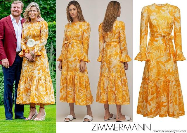 Queen Maxima wore ZIMMERMANN Mae Belted Ruffled Printed Linen Midi Dress In Saffron