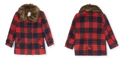 abrigo de lana rojo para niña