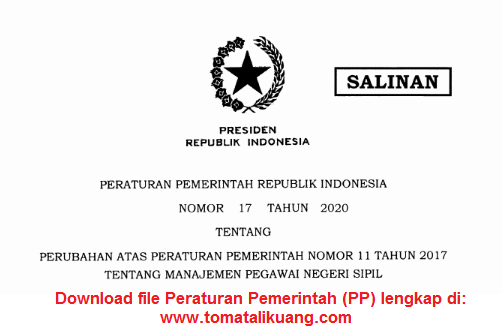 peraturan pemerintah pp nomor 17 tahun 2020 tentang manajemen pns