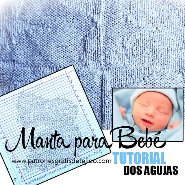 Manta para bebé reversible en dos agujas / Tutorial | Crochet y Dos ...