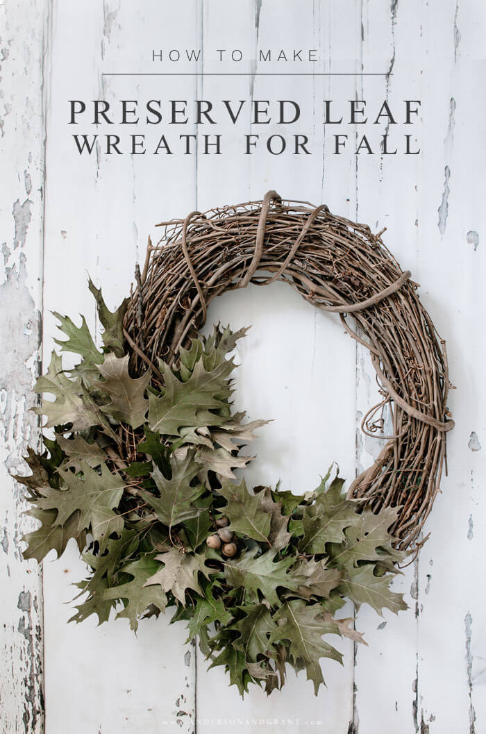 Easy DIY Tutorial for making a wreath of dried leaves for your fall front door.