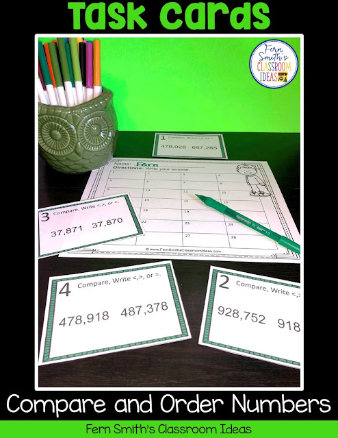 Click Here to Download This 4th Grade Go Math 1.3 Compare and Order Numbers Task Cards Resource Today for Your Class!