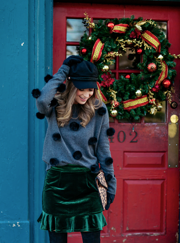 nordstrom grey and navy cece pompom pullover
