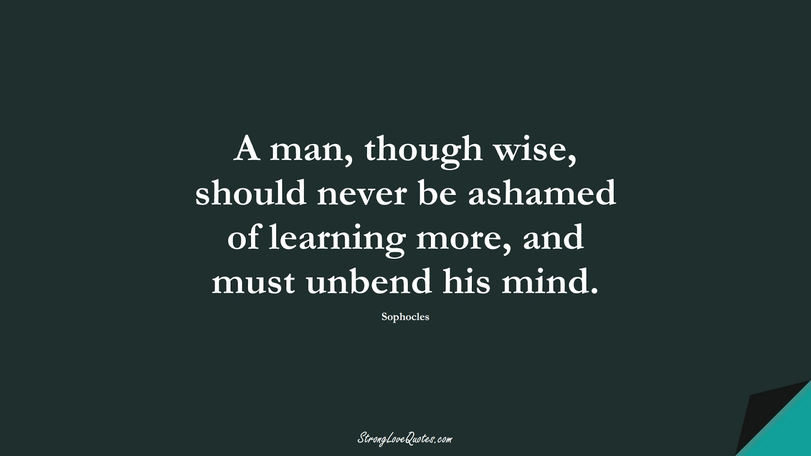 A man, though wise, should never be ashamed of learning more, and must unbend his mind. (Sophocles);  #LearningQuotes