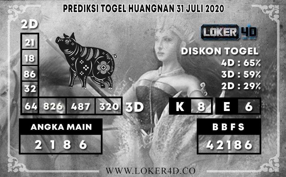 PREDIKSI TOGEL LOKER4D HUANGNAN 31 JULI 2020