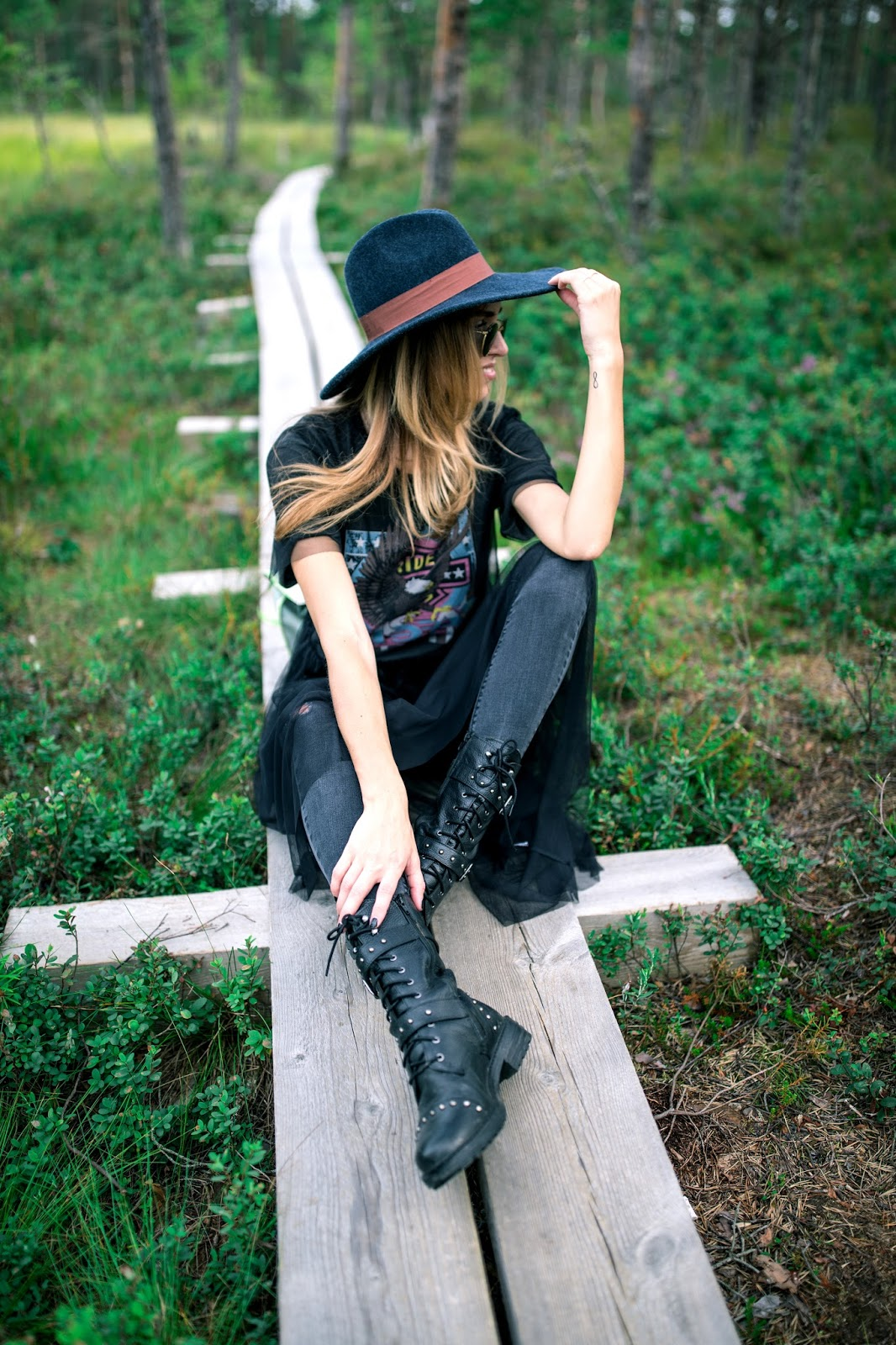 festival style outfit fedora hat biker boots