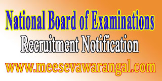 National Board of Examinations Recruitment Notification 2016