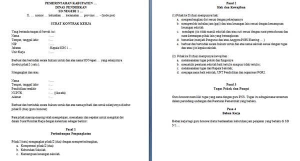 contoh format surat kontrak kerja guru honorer dengan kepala sekolah dasar