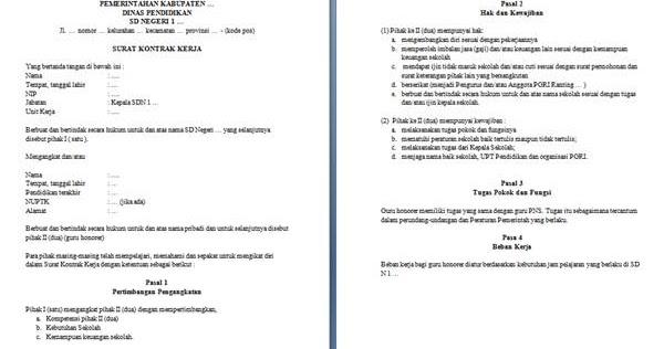 Surat Kontrak Kerja Guru Honorer Sd Guru Loyal