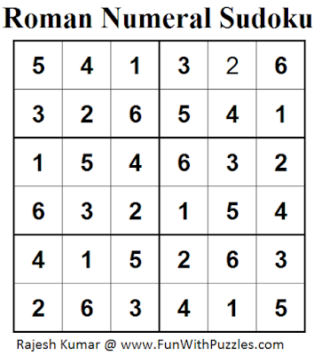 Roman Numeral Sudoku (Mini Sudoku Series #44) Solution