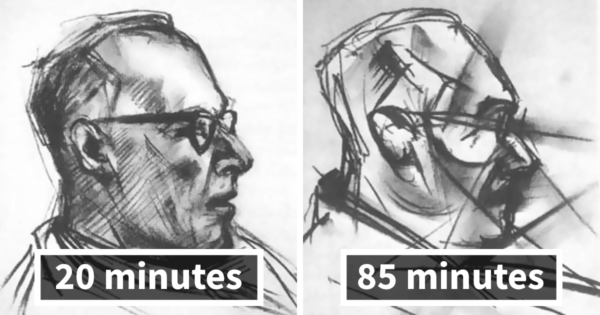Artist Draws The Same Portrait Nine Times After Taking LSD. The Results Are Surreal!