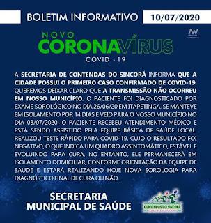 Nota de coronavírus de Contendas do Sincorá