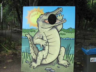 A Crocodile Billboard At Cairns Tropical Zoo.